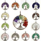Natural Amethyst Tourmaline Lapis Opal Tree of Life Copper Round Shaped Pendant