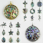 Natural Abalone Shell Tree of Life Heart Cross Teardrop Dragonfly Flower Pendant