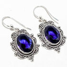 Blue Sapphre Gemstone Handmade Jewelry Earring 1.87""
