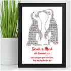 PERSONALISED Penguin Word Art 1st Anniversary Gift for First Wedding Anniversary