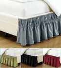Luxury Dust Ruffle Bed Skirt 16 inch Drop Microfiber Elastic Solid Wrap Around  image