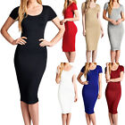 New Fitted Short Sleeve Bodycon Stretch Crewneck Midi Dress Size S M L RF0769