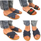 Womens Ladies Slip Denim Sliders Summer Flip Flops Slipper Mules Sandals Sizes