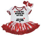 Personalize The Best Mother's Day Gift White Bodysuit Striped Baby Dress NB-18M