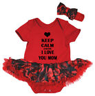 Keep Calm Cause I Love You Mom Red Bodysuit Black Rose Baby Dress NB-18M
