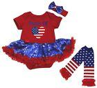 Proud Of USA Heart Red Bodysuit Blue Snowflake Baby Dress Leg Warmer NB-18M