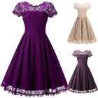 Vintage Womens 50s 60s Lace Floral Rockabilly Pinup Housewife Party Swing Dress