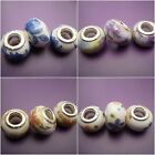 3 Porcelain flowered beads - charms fit /for European charm bracelets 4 designs