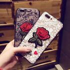 For Samsung Galaxy S6 S7 S8 S9 Plus + Note 4 5 8 J5 J7 Edge Lace Rose Case Cover