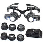8 Lens Magnifier Magnifying Eye Glass Jeweler Watch Repair Loupe With LED Light