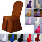 Wedding Party Chair Seat Cover Pleated Dress Polyester Folding Protector Decor