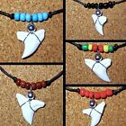 REAL SHARK TOOTH PENDANT ADJUST BLACK CORD NECKLACE BLUE BEADS SURF BOY GIRL NEW