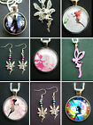 FAIRY EARRINGS NECKLACE GLASS DOME FAIRIES CABOCHON CRYSTAL SILHOUETTE