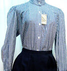 Victorian Vintage Pioneer Style Blue Check Blouse Frontier Classics Old West