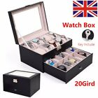 6-20 Grids Watch Display Case Jewelry Collection Storage Organizer Leather Box