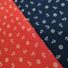 Anchors And Wheels Nautical Theme Navy or Red Sailing Seaside Polycotton Fabric