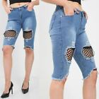 Womens Fishnet Pencil Fit Damage Knee Cut Ripped Trouser Distressed Denim Shorts