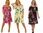 Floral Paisley Summer Cut Out Off The Shoulder Midi Tunic Dress Plus Size 20-26
