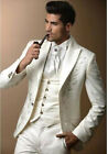 Ivory Embroidery Groom Tuxedos Groomsmen Men Wedding Party Suits Best Man Suits