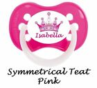 PERSONALISED DUMMY PACIFIER SOOTHER, AVENT /TOMMEE TIPPEE /MAM STYLE, PINK CROWN