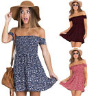 Women Off Shoulder Cocktail Party Mini Dress Summer Casual Boho Floral Sundress