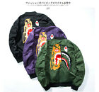 bape baseball jacket - Men BAPE A Bathing Ape Embroidery Shark Head Lovers Bomber Jacket Baseball Coat
