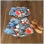 Внешний вид - L'atiste Blue Floral 2-Piece High Waisted Short And Flounce Crop Top Set