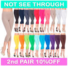 Womens 3/4 Leggings Soft Cotton Active Wear Casual Cropped Pants Size 8-30