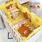 6Pcs 100%Cotton Baby Crib Bumpers Bedding Cartoon Sets Bed Safety Fence Sheets T