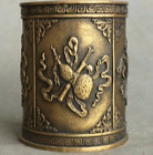 Chinese Dynasty Palace Brone Copper 8 Auspicious Symbol Pen Container Brush Pot