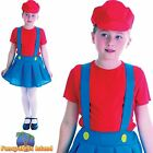 80s VIDEO GAME MARIO PLUMBER'S GIRL - Age 5-10 - Girls Child Fancy Dress Costume