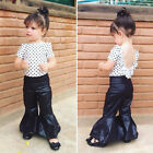 Flared&nbsp;Pants Outfits Kid Baby Girl Top Vest Mini Dress+Loose Leggings Clothes US <br/> ❤200+ Sold❤USPS Fast Delivery❤Multi-styles Choose❤