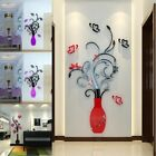 US 3D Art  Vase Flower Wall Mirror Stickers Decal Mural Graf