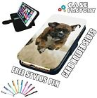 Brown Boxer Puppy Dog Jumping - LEATHER FLIP WALLET PHONE CASE COVER + STYLUS