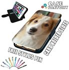 Brown and White Puppy Dog - LEATHER FLIP WALLET PHONE CASE COVER + STYLUS