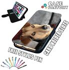 Cute Brown Hound Dog Long Ears - LEATHER FLIP WALLET PHONE CASE COVER + STYLUS