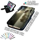 Snow Husky Wolf Dogs Pulling Sled LEATHER FLIP WALLET PHONE CASE COVER + STYLUS