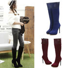 Women Pointed Toe Knee High Boots Stiletto High 13 cm Heel Zip Sexy Shoes