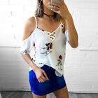 Womens Summer Loose Casual Off Shoulder Floral Shirt Tops Blouse Ladies Sexy Top