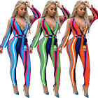 Sexy Women V Neck Striped Bodycon Playsuit Slit Sleeves Belt Clubwear Jumpsuits