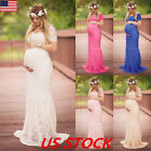 Pregnant Women Floral Lace Dress Ladies Maternity Photography Long Maxi Dresses