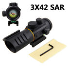 Riflescope 3X42 Red Dot Optics Sight Scope 5 MOA 11/20mm Gun Green Flasglight