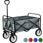 Foldable hand cart pull along wagon garden trolley trailer transport 80kg load