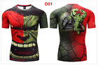 Marvel Men Compression T-Shirt Superhero Tops Gym Jersey Tee Superman Panther US