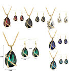 Crystal Tear Drop Pendant Necklace Earrings Wedding Party Jewelry Sets 6 Colors