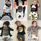 2PCS Baby Toddler Boy Clothes Short/ Long Sleeve T-shirt Tops + Pants Outfit Set