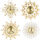 Modern Flower Diamond Crystal Large Metal Wall Clock Silent Home Office Decor