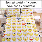Smiley Emojis Duvet Cover Set With Pillow Covers (White)