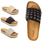 LADIES WOMENS ESPADRILLE STUDS SLIP ON WEDGE SUMMER BEACH MULES SANDALS SIZES UK