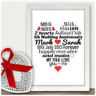 Personalised 5th Wedding Anniversary Gifts For Him Her Five Years As Mr & Mrs